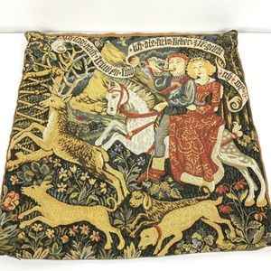 Flemish Tapestries Royalty On Horse Pillow Cover